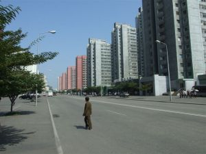 An empty street in Pyongyang