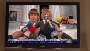 Cathy Geiss from 30 Rock with her Teddy Ruxpin bear