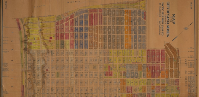 "This property map from the 1920s shows the Pacific Electric street car trackage along Ocean Avenue, connecting the Westgate line in Brentwood to the ""Santa Monica Line"" on  Santa Monica Boulevard."