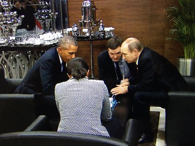 Putin and Obama, who are now on opposing sides of Syria's bloody civil war, had officially planned no formal sit-downs while in Antalya - just a few hundred miles from Turkey's border with Syria.