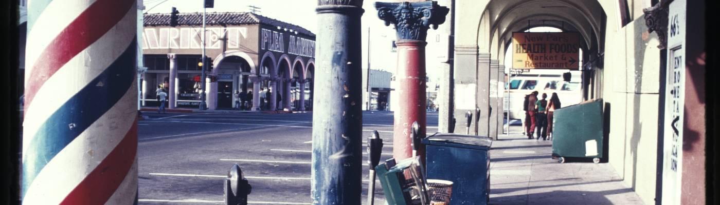 Painted columns along a sidewalk, Venice, Calif., ca. 1973