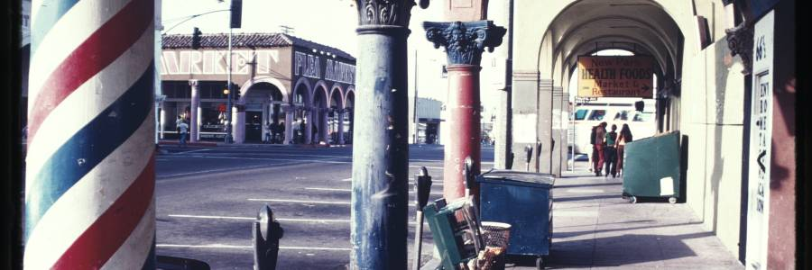 Painted columns along a sidewalk, Venice, Calif., ca. 1973