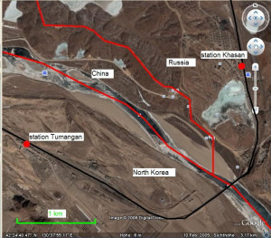 This is an aerial photo showing the triple border shared by Russia, China, and North Korea. The labels show a